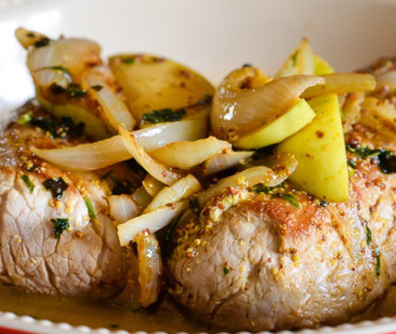 Roast pork tenderloin with onions & apples