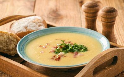 Roasted Garlic, Bacon, Leek and Potato Soup
