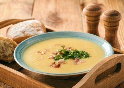 Roasted garlic soup with bacon.