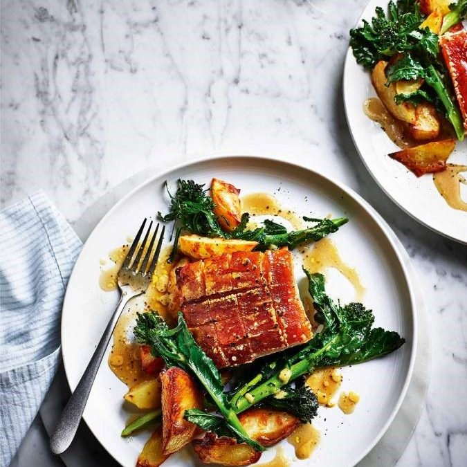 Slow Roast Pork with Rosemary Potatoes and Sprouting Broccoli