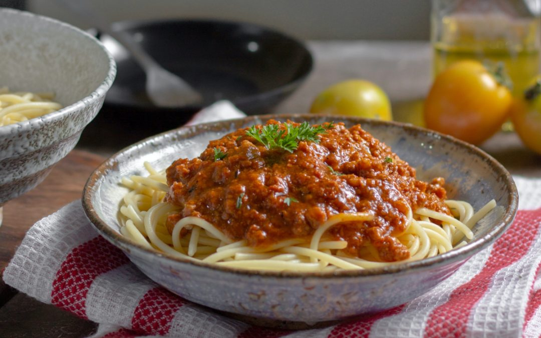 Spaghetti Bolognese with hidden veg