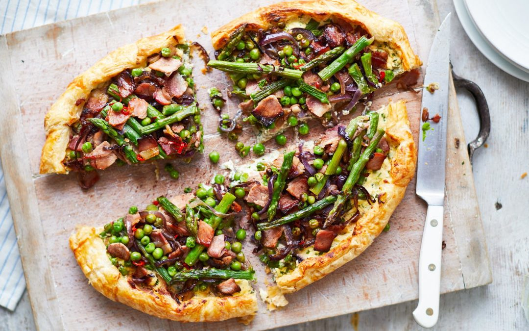 Spring galette with peas, bacon, asparagus, cheese and chilli