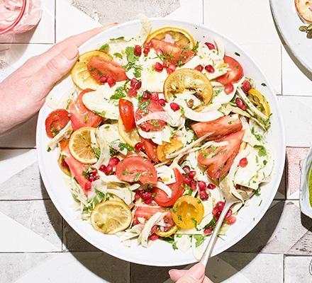 Fennel, roast lemon & tomato salad